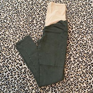 AG Olive Green Maternity Skinny Jeans 30